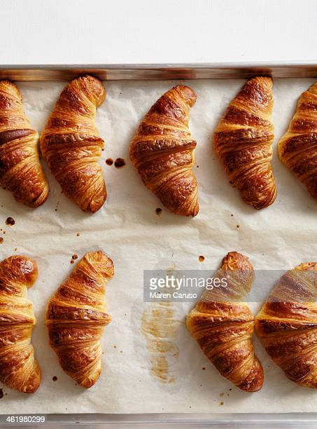 Overhead of Croissants on Baking Pan