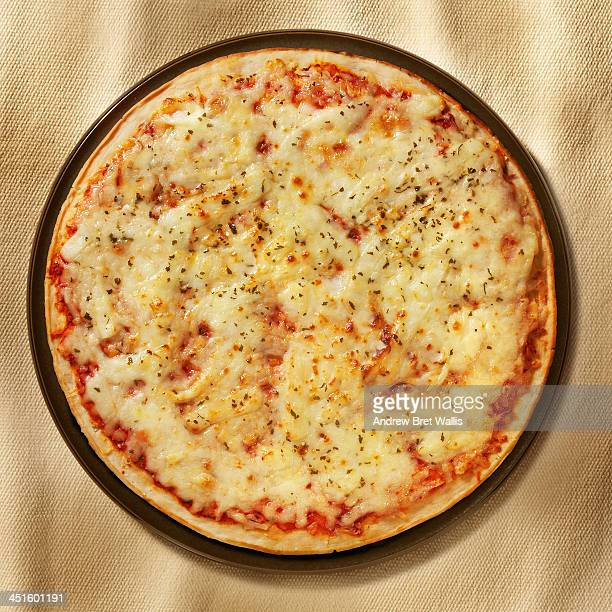 Overhead of freshly baked cheese and tomato Pizza