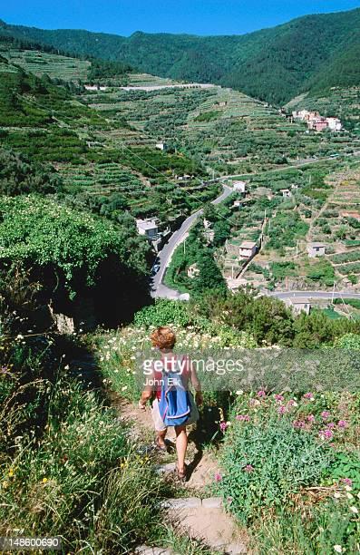 Overhead of hiker on trail, Volastra.
