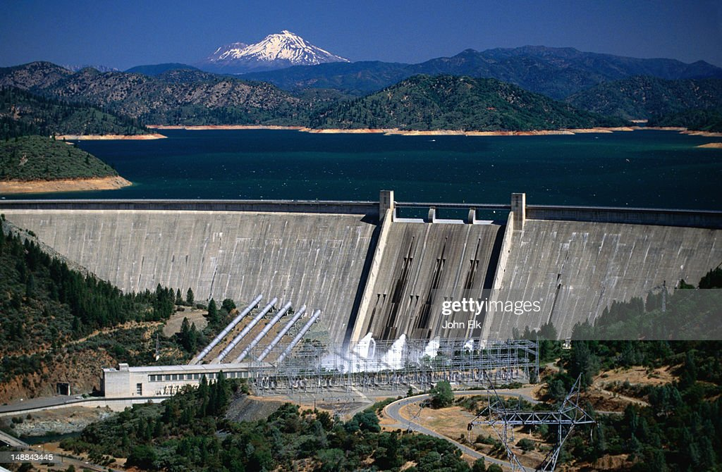 Overhead of Lake Shasta and Shasta Dam with Mt Shasta in background. : Stock Photo