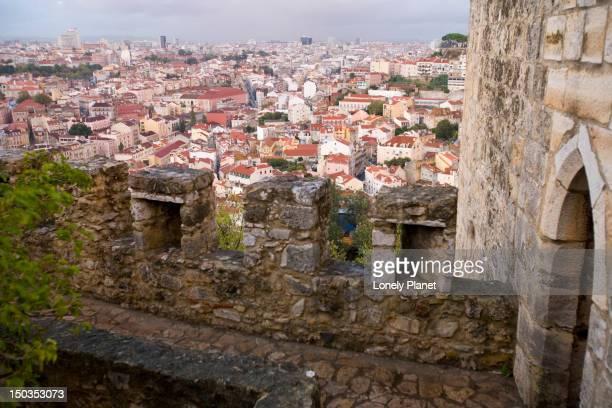 Overhead of Lisbon from Castelo Sao Jorge battlements, Castelo.