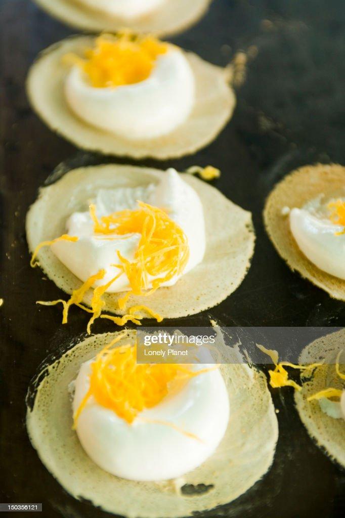 Overhead of meringue pancakes. : Stock Photo