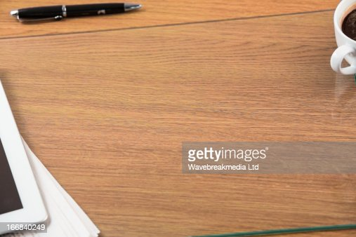 Overhead of office desk : Stock Photo