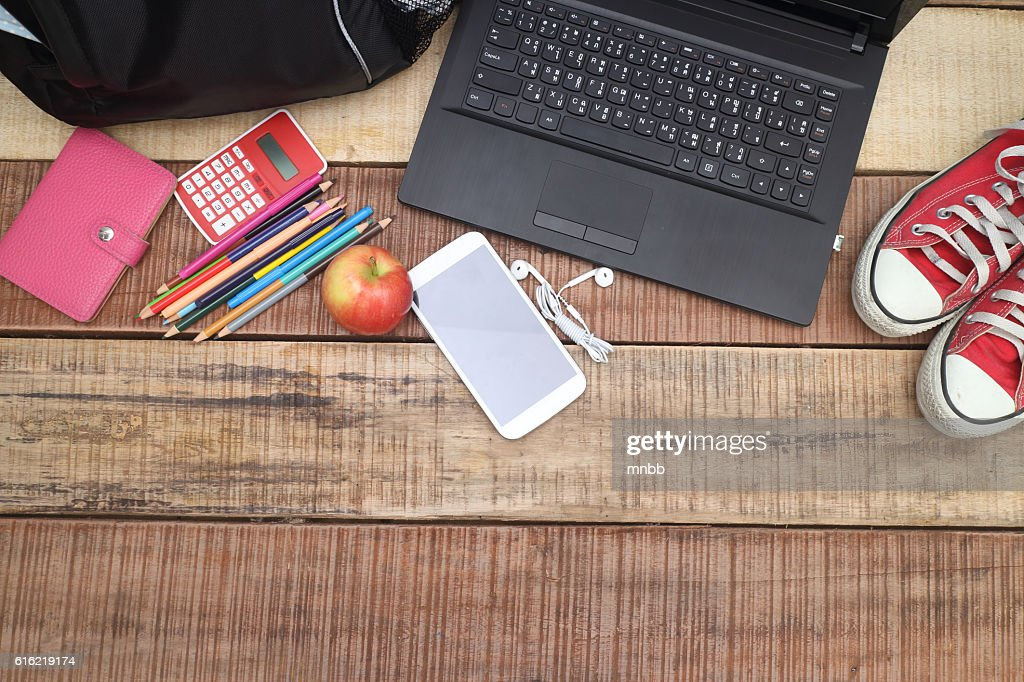 overhead of office table or student table : Stock-Foto