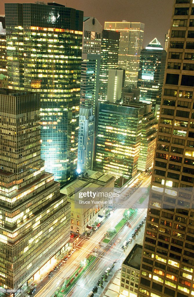 Overhead of Park Avenue from Waldorf Tower at night.