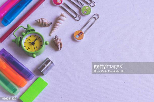 Overhead of school supplies. Subject capture against soft window lighting. Copy space. Copy space.