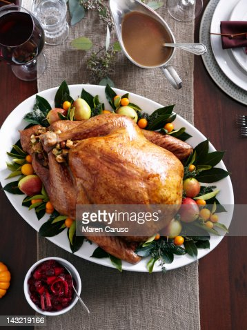Overhead of table with Turkey dish and gravy