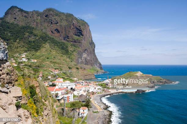 Overhead of town and Penha de Aguia (Eagle Rock), Porto da Cruz, Madeira, Portugal