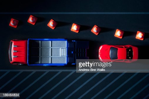 Overhead of toy vehicle recovery truck and car : Stock Photo