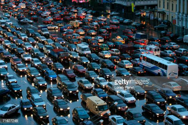 Overhead of traffic during evening rush hour, Garden Ring, Moscow, Russia