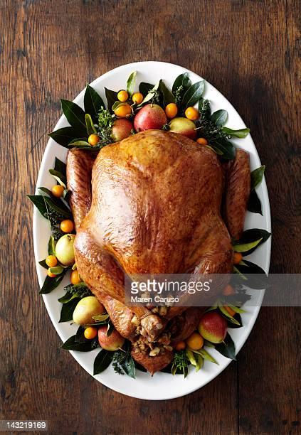 Overhead of turkey dish on wood surface