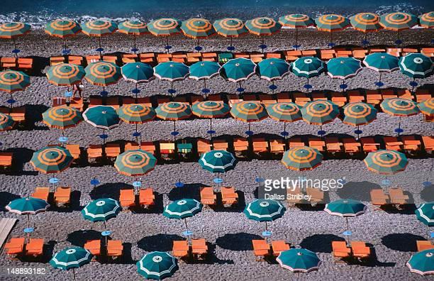 Overhead of umbrellas, deck chairs on Spiaggia Grande.