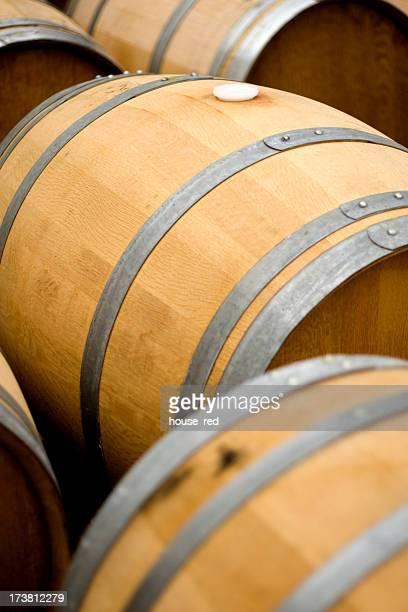 Overhead of wine barrels