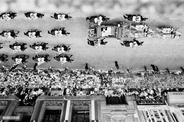 Overhead picture shows Prince Charles The Prince of Wales and his bride The Princess of Wales Lady Diana Spencer ride by open top carriage down Fleet...