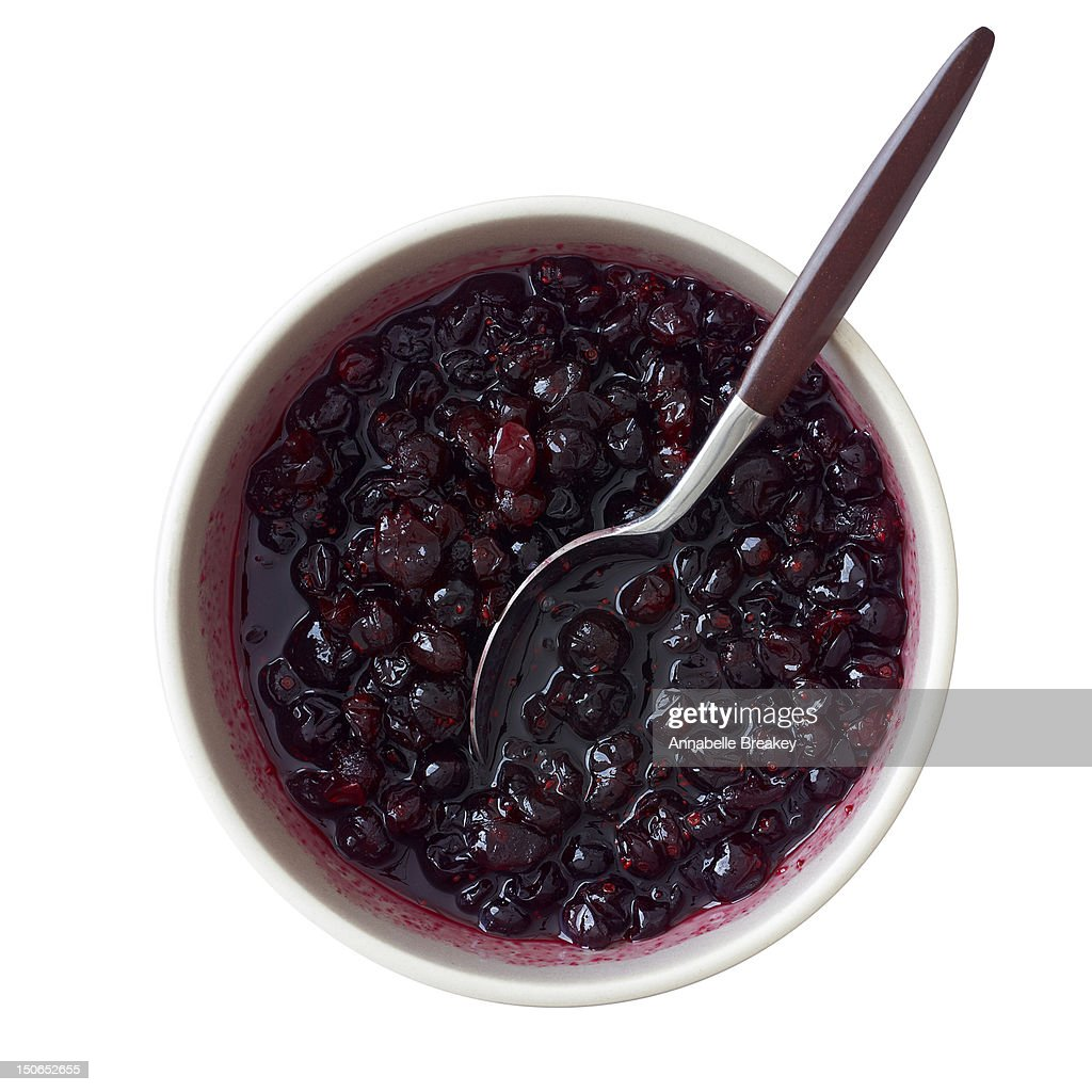 Overhead Shot of Bowl of Cranberry Sauce