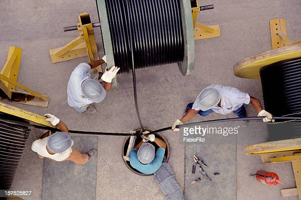 Overhead shot of electricians working