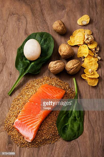 Overhead  shot of food containing Omega 3