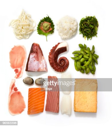 Overhead shot of iconic Japanese food : Stock Photo