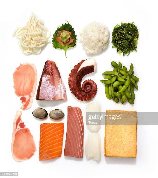 Overhead shot of iconic Japanese food