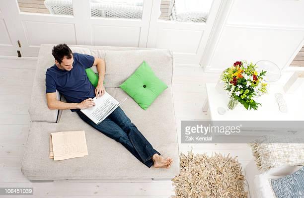 Overhead shot of man with laptop