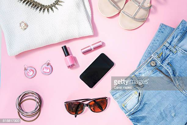overhead shot woman spring clothes