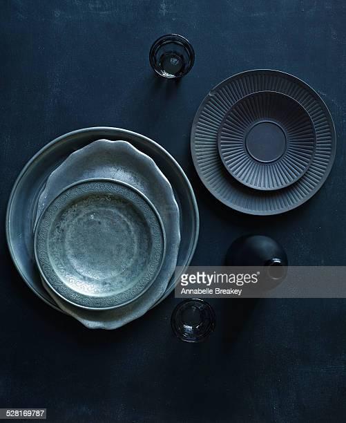 Overhead Still Life of Dark Vintage Dishes