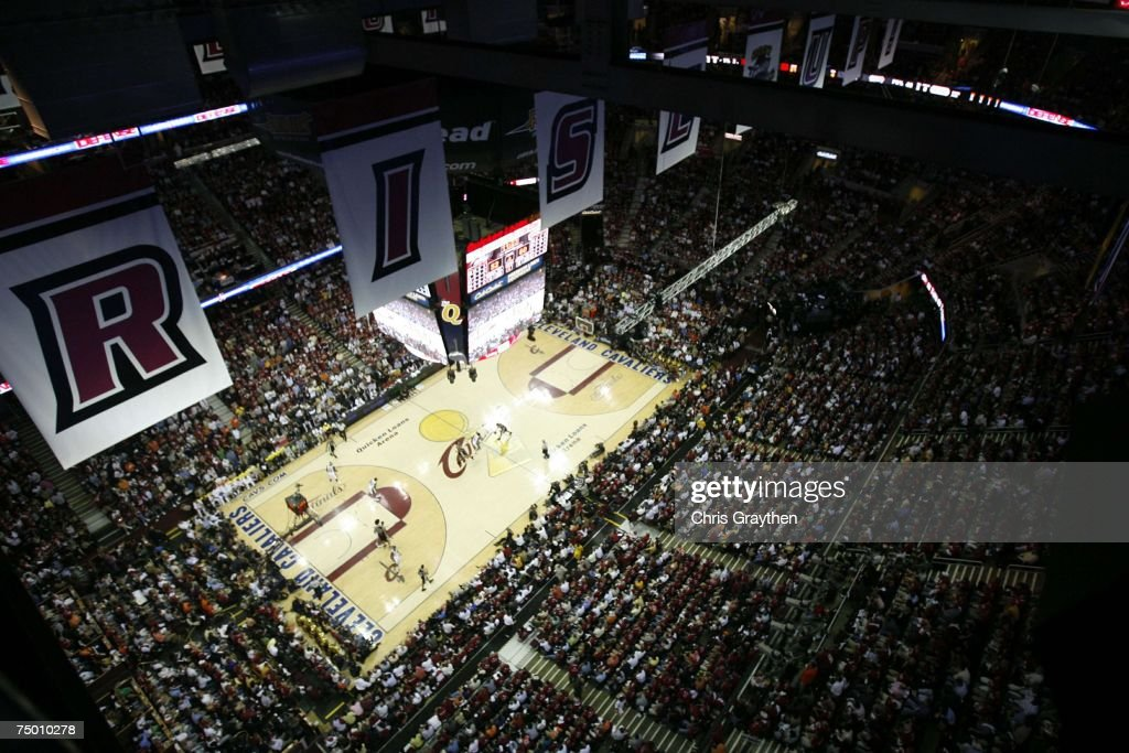 Overhead view in Game Four of the NBA Finals between the Cleveland Cavaliers and the San Antonio Spurs at the Quicken Loans Arena on June 14, 2007 in Cleveland, Ohio.