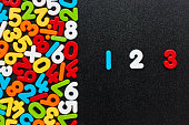 Overhead view of 123 by multi colored numbers and mathematical symbols. Flat lay of colorful digits on blackboard. Image is representing mathematics concept.
