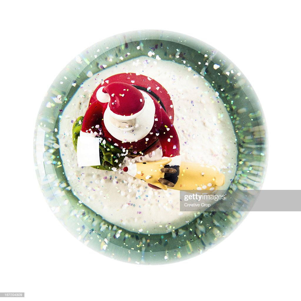 Overhead view of a Christmas snow globe : Stock Photo