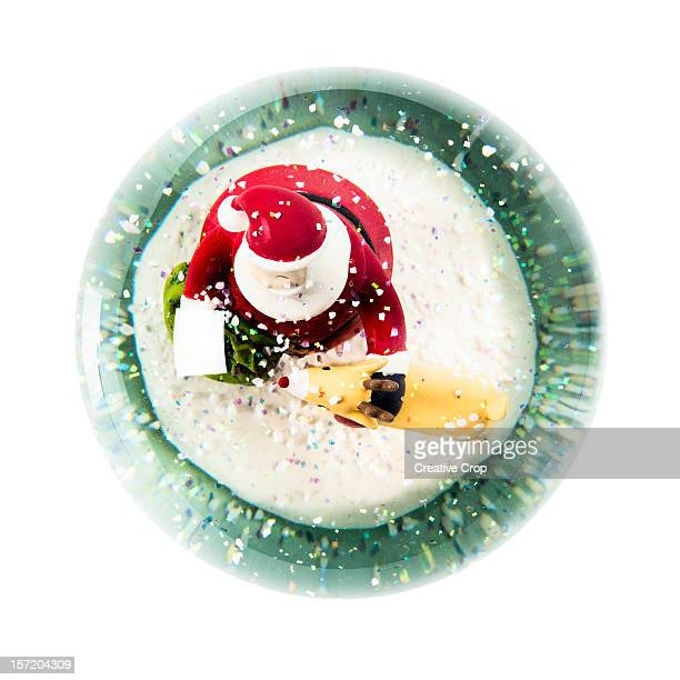 Overhead view of a Christmas snow globe