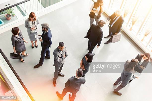 Overhead view of a group of business people