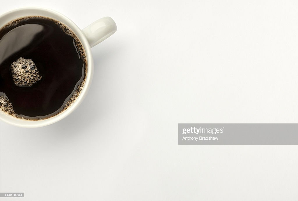 Overhead view of black coffee : Stock Photo