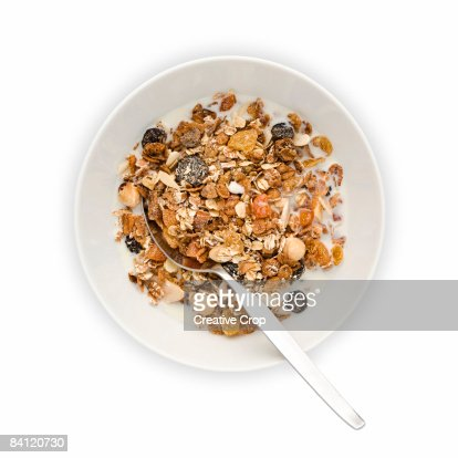 Overhead view of Bowl of Muesli with milk