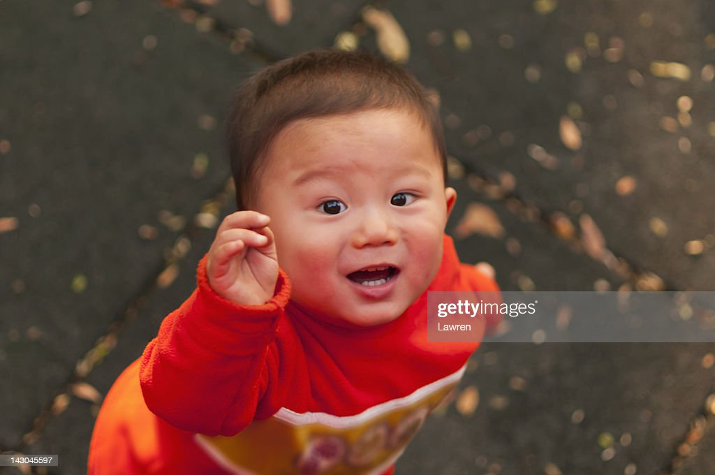 Overhead view of boy : Stock Photo