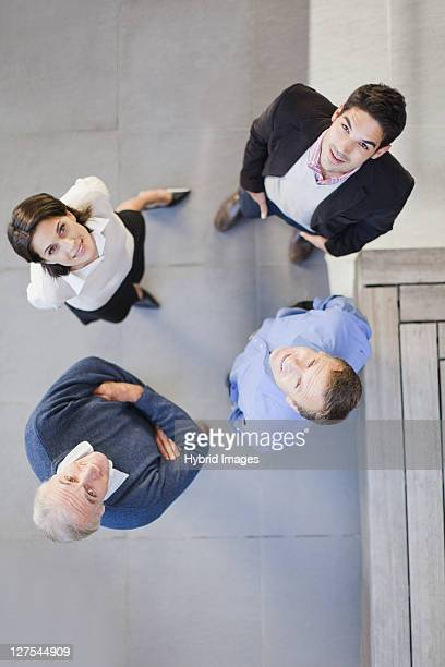 Overhead view of business people talking
