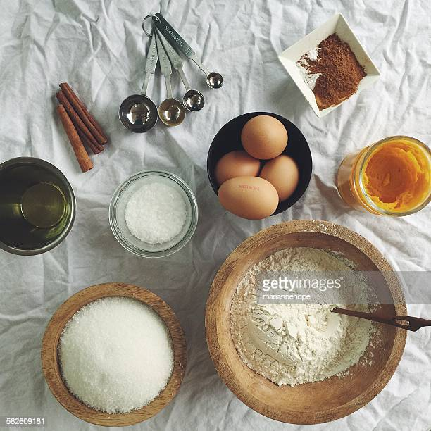 Overhead view of cake baking ingredients