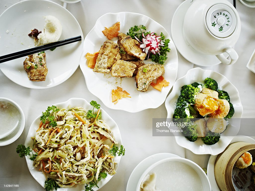 Overhead view of Chinese food : Stock Photo