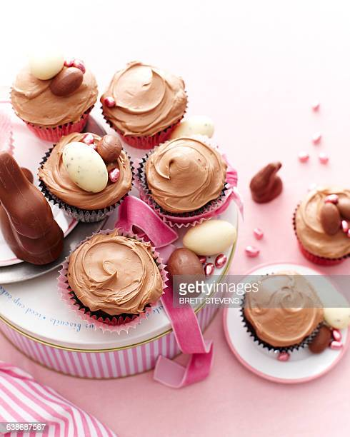 Overhead view of chocolate cupcakes covered with icing decorated with easter eggs
