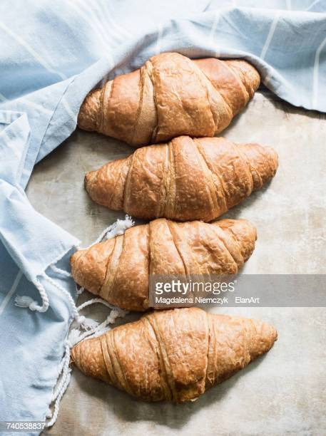 Overhead view of croissants