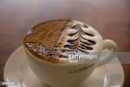 Overhead view of cup of cappuccino : Stock Photo