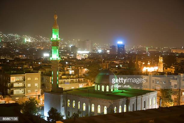 Overhead view of Damascus skyline at night  from Le Meridien Damascus Hotel.