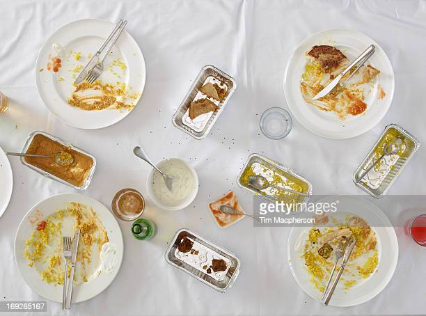 Overhead view of dirty dishes on table