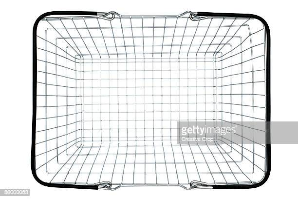Overhead view of empty steel wire shopping basket