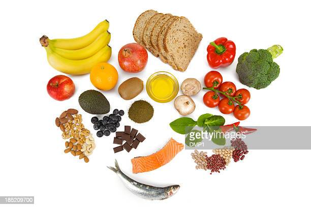Overhead view of fresh food groups collectively known as Superfoods