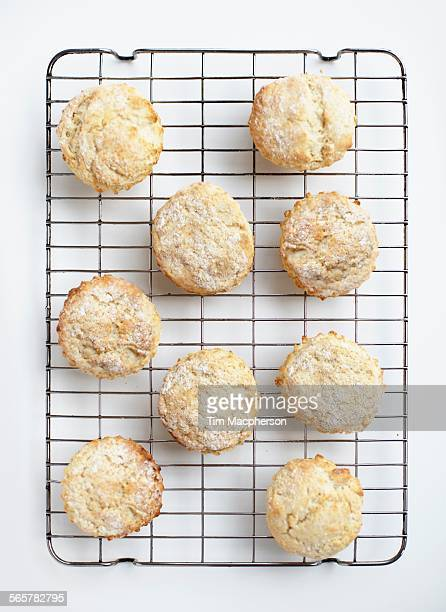 Overhead view of freshly baked scones on cooling rack