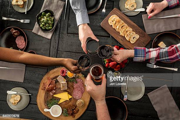 Overhead view of friends sharing a meal