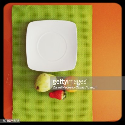 Overhead view of fruits on table
