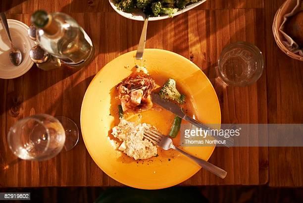 Overhead view of half eaten meal