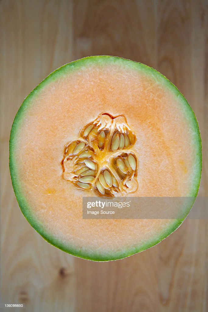 Overhead view of halved melon