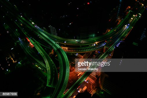 Overhead view of highway at night, Tokyo, Japan : Stock Photo